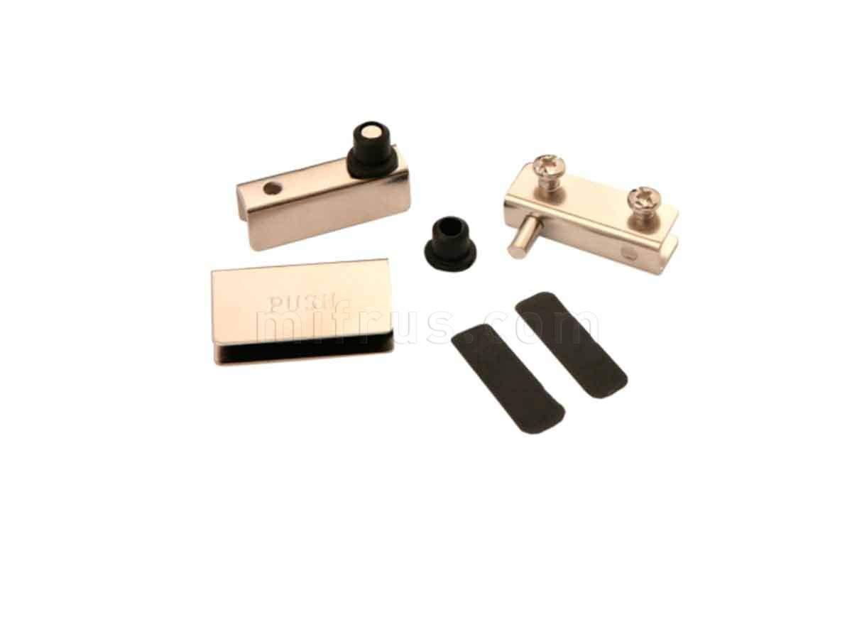 BOYARD Комплект петель HG001/Ni для 1 стеклянного фасада, никель (100)