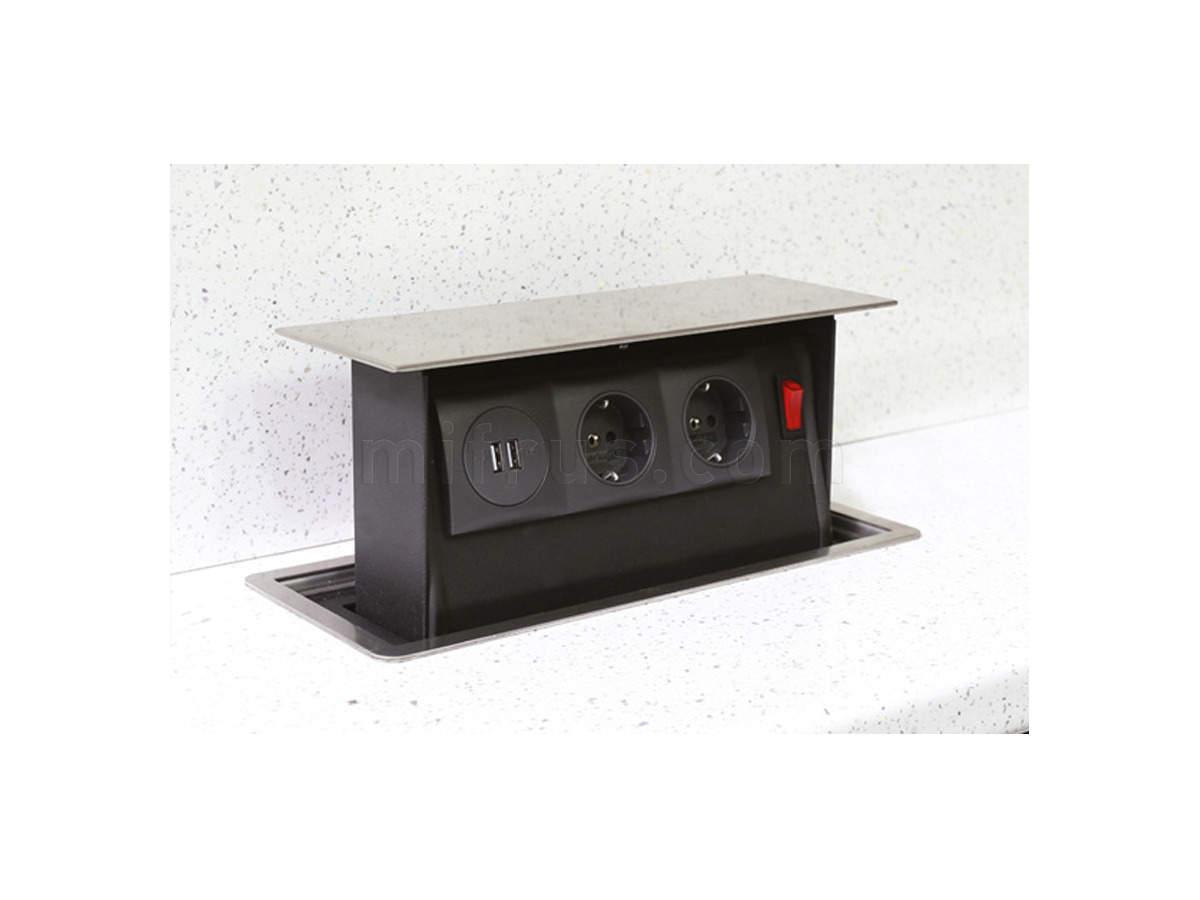 SB-PS02SS.EU Механизм POWER BOX с 2 розетками и 2 USB