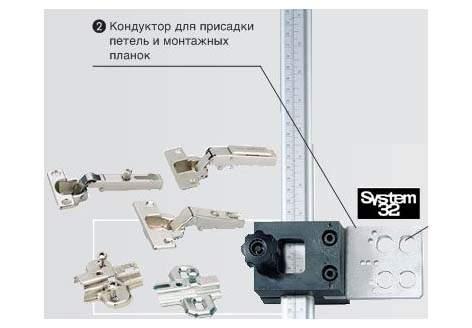 Сверлильный кондуктор Accura для петель и монт. планок с керном, алюминий/пластмасса (1)