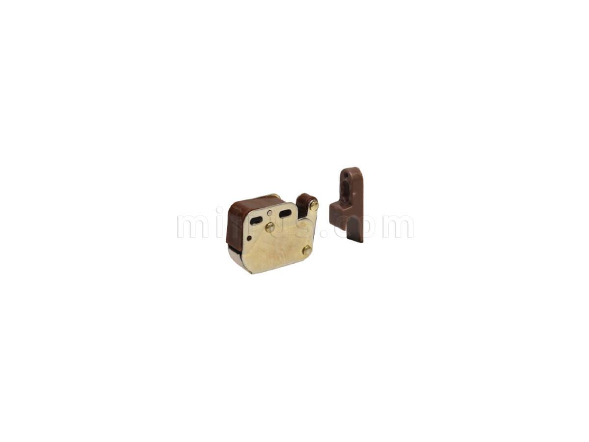 04.02.03.016 Клип-защелка дверная, отделка латунь + коричневая