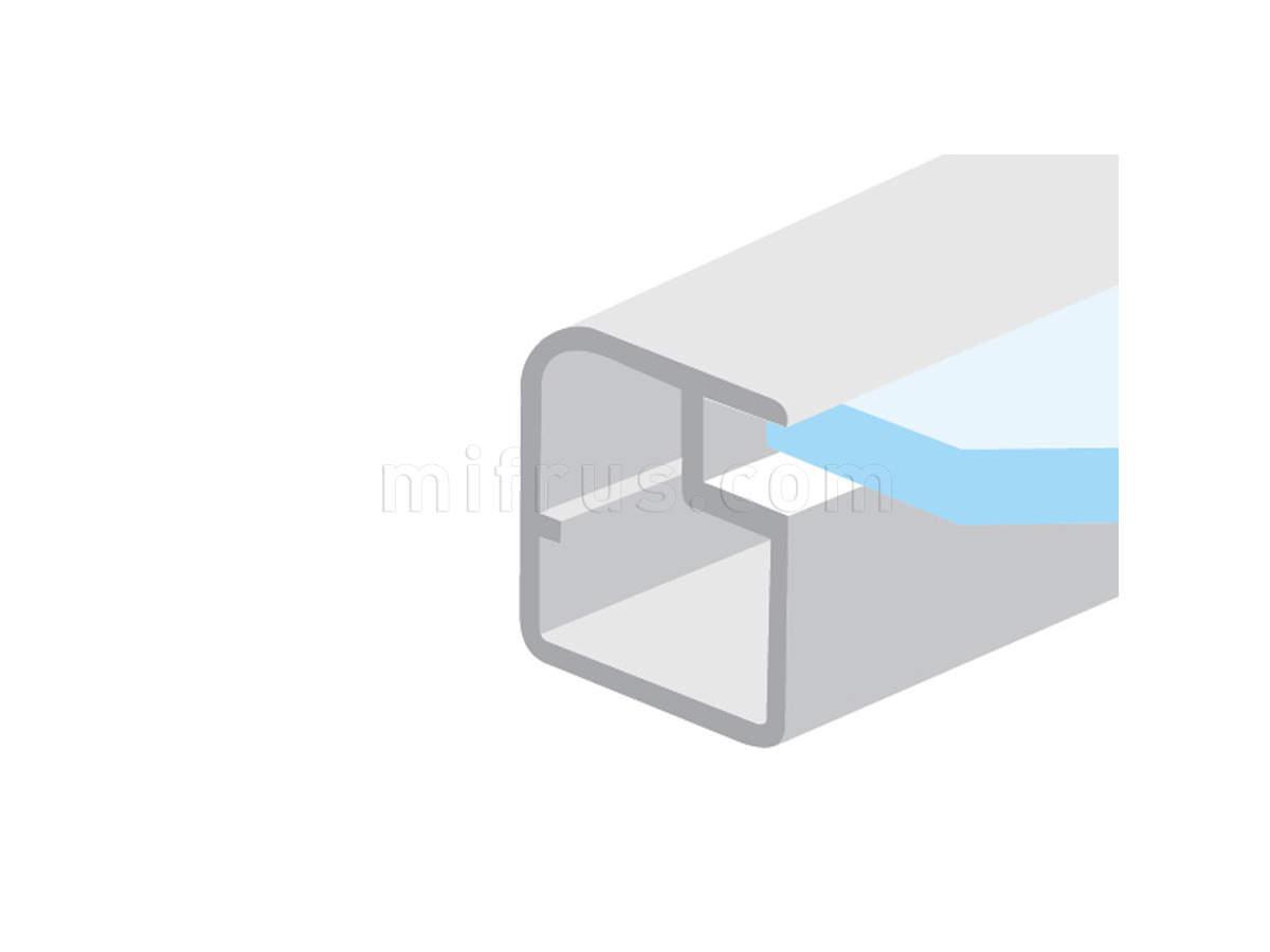HE.951 Профиль рамочный квадратный 20 х 21 мм с овалом, алюминий, L=4 м (20)