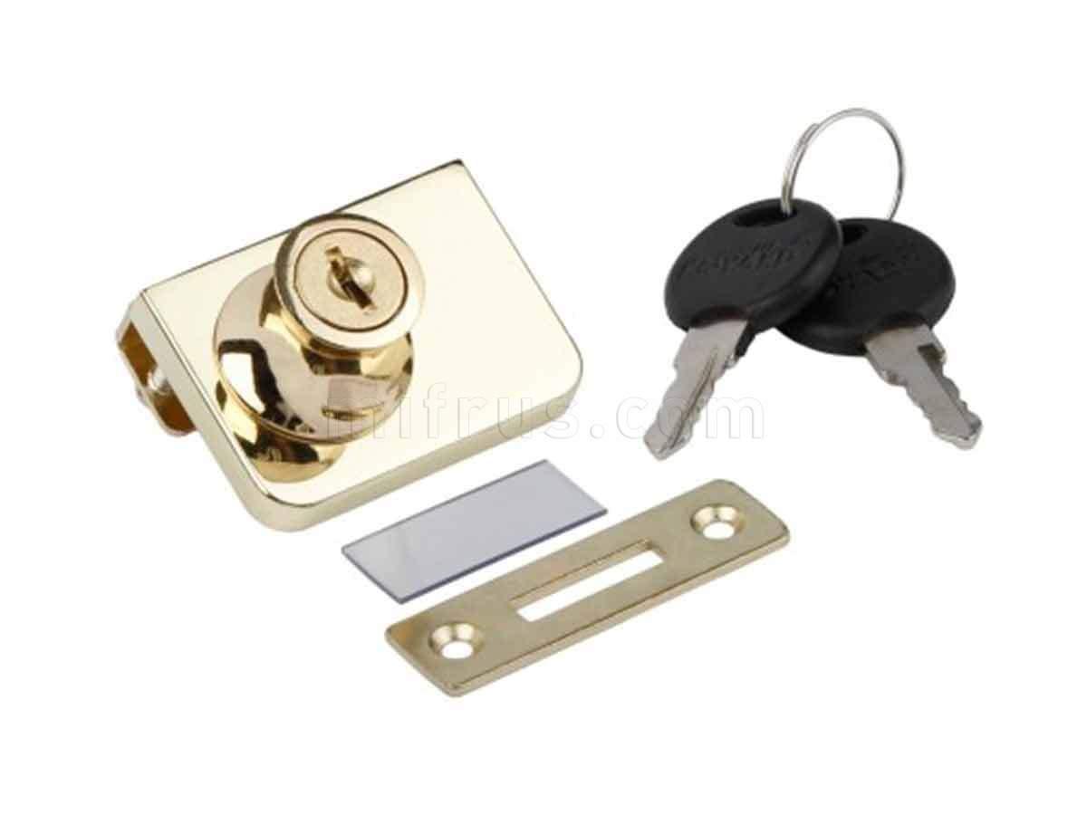 BOYARD Замок Z258GP.2/18 д/стекл. дверей, золото с отв. планкой (12/240)